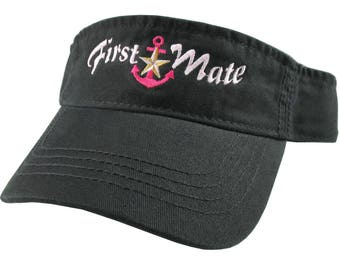 Nautical Star Anchor First Mate Pink and Fuchsia Embroidery on a Black Unisex Adjustable Visor Cap for the Boating Enthusiast
