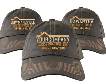 Construction Renovation Contractor Home Builder Embroidery on an Adjustable Brown Unstructured Baseball Cap +Options to Personalize Your Hat