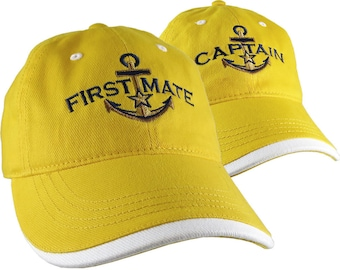 Nautical Star Golden Anchor Captain First Mate Embroidery 2 Adjustable Yellow Unstructured Baseball Caps with Options Personalize Both Hats