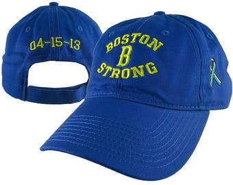 Boston B Strong Ribbon Remembrance 3D Puff + 3 Locations Embroidery on an Adjustable Royal Blue Unstructured Low Profile Baseball Cap
