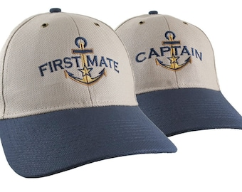 Nautical Star Golden Anchor Captain First Mate Embroidery Adjustable Khaki and Navy Structured Baseball Caps Options to Personalize the Hats
