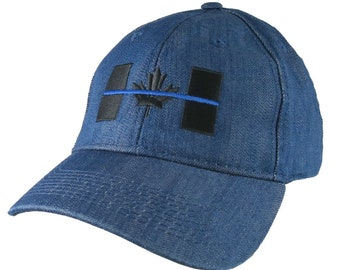 A Canadian Thin Blue Line Symbolic Black and Royal Blue Embroidery on an Adjustable Blue Denim Structured Adjustable Fashion Baseball Cap