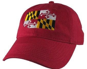 Maryland State Flag Symbol Embroidery Design on an Adjustable Cranberry Red Unstructured Classic Baseball Cap Dad Hat +Option to Personalize