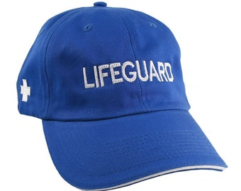 Lifeguard Embroidery on an Adjustable Royal Blue and White Trim Unstructured Low Profile Baseball Cap with Options to Personalize the Hat