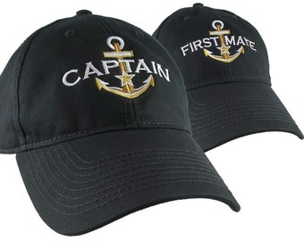 Golden Nautical Star Anchor Captain and First Mate Embroidery 2 Adjustable Black Unstructured Baseball Caps + Options Personalize Both Hats