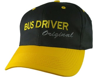 Bus Driver Original Yellow School Bus Driver Embroidery on an Adjustable Structured Black and Yellow Pro Style Cap + Personalization Options