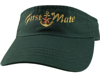 Nautical Star Anchor First Mate Golden Embroidery on a Forest Green Unisex Adjustable Visor Cap for the Boating Enthusiast
