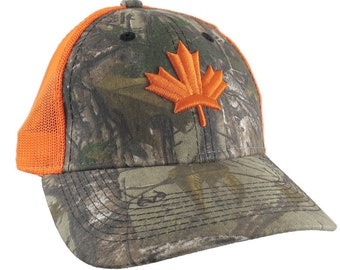 Canadian Maple Leaf 3D Puff Embroidery Canada Flag on an Adjustable Realtree Camo Structured Truckers Style Safety Orange Snapback Ball Cap