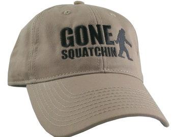 Gone Squatchin Humorous Sasquatch Bigfoot Silhouette Black Embroidery on an Adjustable Khaki Beige Unstructured Baseball Cap