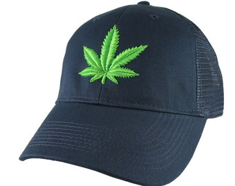 Cannabis Pot Marijuana Leaf 3D Puff Bud Green Embroidery on an Adjustable Navy Blue Soft Structured Trucker Style Classic Cap