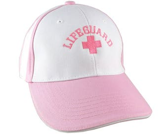 Beach Swimming Pool Lifeguard Pink Embroidery on Adjustable Pink and White Structured Baseball Cap with Option to Personalize the Back
