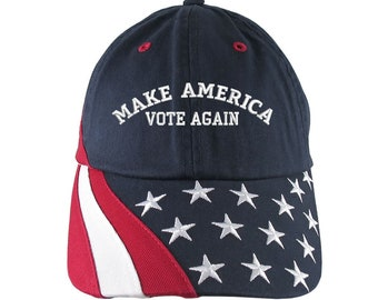Make America Vote Again US Elections 2020 Embroidery on Adjustable Navy Blue Unstructured Stars and Stripes Baseball Cap + Options