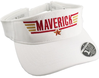 Maverick Top Gun Typographic Calling Sign Header Embroidery Design on an Adjustable White Yupoong Flexfit Visor Cap Summer Hat