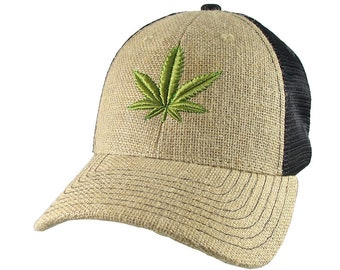 Cannabis Marijuana Leaf 3D Puff Embroidery on an Adjustable Natural Burlap Jute and Black Mesh Structured Trucker Style Baseball Cap