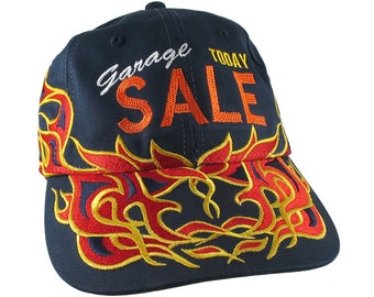 Garage Sale Today Embroidery on Adjustable Pinstripe Tribal Racing Flames Soft Structured Fashion Navy Baseball Cap + Option to Personalize
