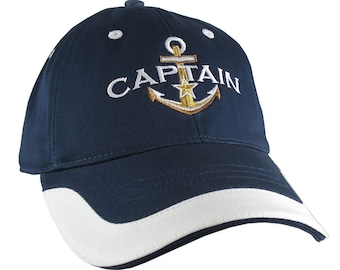 Elegant Nautical Golden Star Anchor Captain Embroidery Adjustable Navy Blue and White Unstructured Baseball Cap with Options to Personalize
