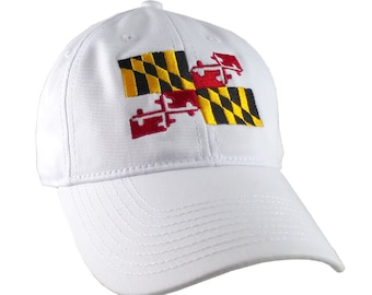 Maryland State Flag Symbol Embroidery Design on an Adjustable White Unstructured Classic Baseball Cap Dad Hat +Option to Personalize