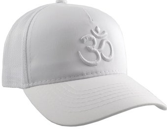 Yoga Om Symbol 3D Puff White Embroidery on an Adjustable White Structured Trucker Style Snap-back Ponytail Baseball Cap