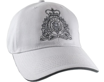 Canadian RCMP GRC Veteran Mounted Police Crest Motto Embroidery Adjustable Light Silver Soft Structured Baseball Cap Option to Personalize