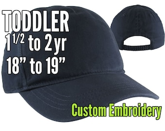 Toddler Size 1.5 to 2yr Custom Personalized Embroidery Decoration on a Navy Blue Unstructured Baseball Cap Options Personalize Side and Back