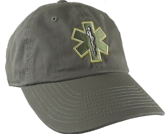 Paramedic EMT EMS Star of Life Embroidery on Adjustable Military Green Unstructured Baseball Cap Dad Hat with Option to Personalize the Back