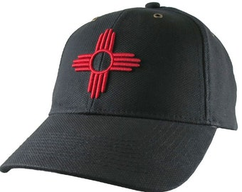 New Mexico State Flag Symbol Red 3D Puff Embroidery Design on an Adjustable Black Structured Classic Baseball Cap with Option to Personalize