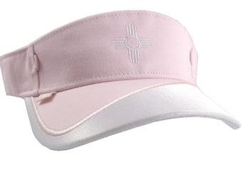 New Mexico State Flag Zia Sun Embroidery on a Pink and White Adjustable Visor Cap Elegant Fashion Sun Hat