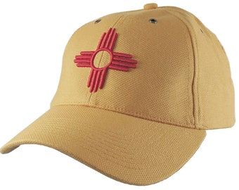 New Mexico State Flag Symbol Red 3D Puff Embroidery Design on Adjustable Mango Yellow Structured Classic Baseball Cap Option to Personalize
