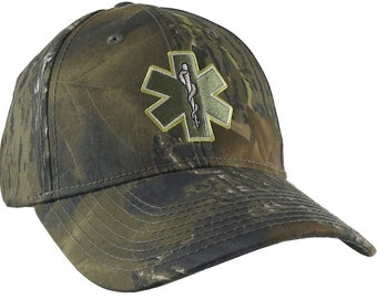 Paramedic EMT EMS Star of Life Embroidery on Adjustable Woodsman Green Camo Structured Baseball Cap Options to Personalize on 2 Locations
