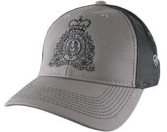 Canadian RCMP GRC Veteran Mounted Police Crest Motto Embroidery Adjustable Silver Grey Structured Trucker Cap 3 Locations Embroidery
