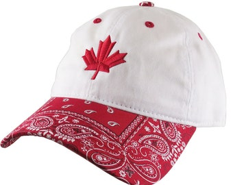 Red Canadian Maple Leaf Embroidery on a Red and White Bandanna Adjustable Unstructured Baseball Cap Dad Hat with Options to Personalize