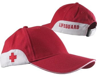 Lifeguard 2 Locations Embroidery on a Red and White Adjustable Soft Structured Classic Baseball Cap with Option to Personalize