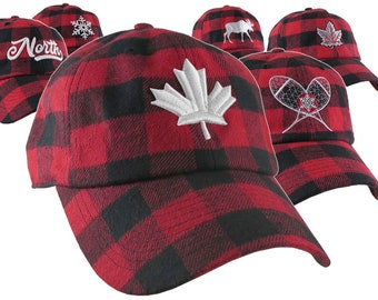 In The North Collection Custom Embroidery on Red and Black Buffalo Check Plaid Soft Structured Fashion Baseball Cap Dad Hat Style Lumberjack