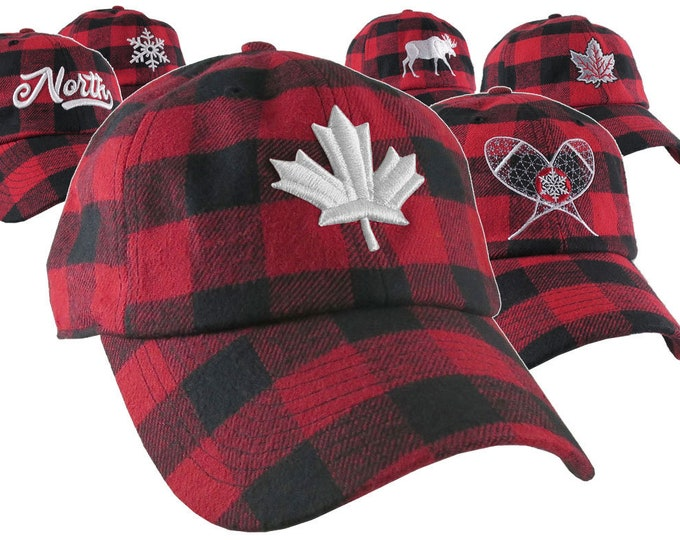 Featured listing image: In The North Collection Custom Embroidery on Red and Black Buffalo Check Plaid Soft Structured Fashion Baseball Cap Dad Hat Style Lumberjack