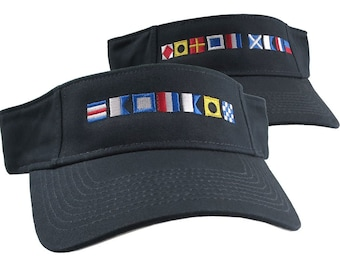 Captain and First Mate done in Nautical Flags Embroidery Couple Adjustable Navy Blue Cotton Twill Visors Duo Sun Hats