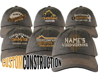 Construction Renovation Contractor Trade Embroidery on an Adjustable Brown Unstructured Baseball Cap with Options to Personalize Your Hat