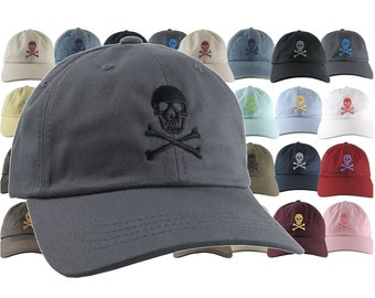Custom Skull Crossbones Pirate Your Color Choice Embroidery on Your Selection of 21 Adjustable Unstructured Baseball Caps Dad Hat Style