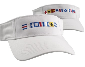 Captain and First Mate done in Nautical Flags Embroidery Couple Adjustable White Cotton Twill Visors Duo Sun Hats