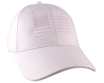 An American US Flag Pink Embroidery on an Adjustable Structured Adjustable Pink Baseball Cap with Options to Personalize the Side and Back
