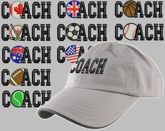 Custom Personalized Coach Embroidery on an Adjustable Unstructured Grey Baseball Cap Dad Hat Front Decor Selection + Options for Side + Back
