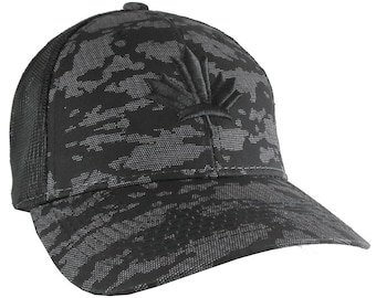 Canadian Black Maple Leaf 3D Puff Embroidery Canada Flag on an Adjustable Urban Camo Structured Trucker Style Snapback Ball Cap