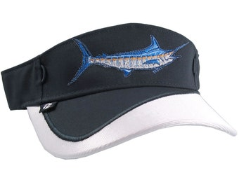 Blue Marlin Fish Nautical Embroidery on a Navy Blue and White Visor Adjustable Elegant Fashion Sun Hat