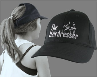 The Hairdresser Godfather Parody Style White Embroidery Design Adjustable Structured Black Ponytail Hairdo Women Open Fashion Baseball Cap