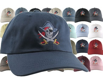 Custom Skull Crossbones Pirate Embroidery on Your Selection of 21 Adjustable Unstructured Baseball Caps Dad Hat Style