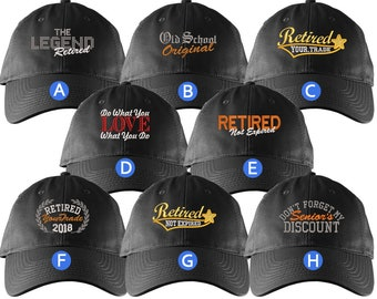 Custom Retirement Embroidery Design Black Unstructured Classic Adjustable Baseball Cap Selection of 8 Designs Some Personalized + Options