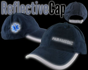 Paramedic EMT EMS Star of Life Reflective Embroidery + Trim Adjustable Navy Blue Unstructured Adjustable Ball Cap + Personalization Option