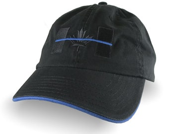 A Canadian Thin Blue Line Flag Symbolic Black and Blue Embroidery Adjustable Black and Blue Trimmed Unstructured Adjustable Cap Dad Hat