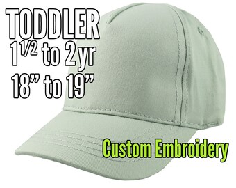 Toddler Size 1.5 to 2yr Custom Personalized Embroidery Decoration on a Mint Green Structured Baseball Cap +Options to Personalize Side +Back