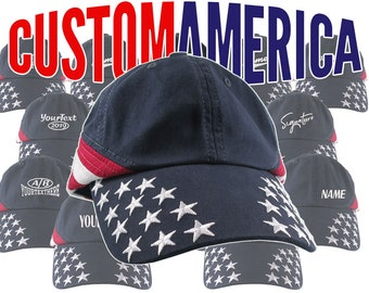 Custom Embroidery of your Choice on an Adjustable Unstructured Dad Hat Style Stars and Stripes Patriotic Fashion Baseball Cap