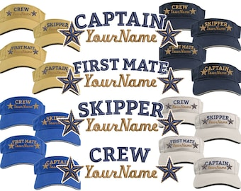 Custom Personalized Your Name on Captain First Mate Skipper Crew Stars Embroidery on Your Selection of Adjustable Visor Cap Sun Hat